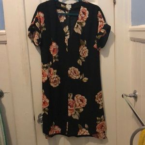 Black Large-Floral Print dress
